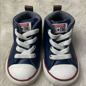 Converse Infant Navy Leather Street Hi Tops, sz 4